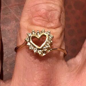 14K yellow gold open heart diamond ring Size 7